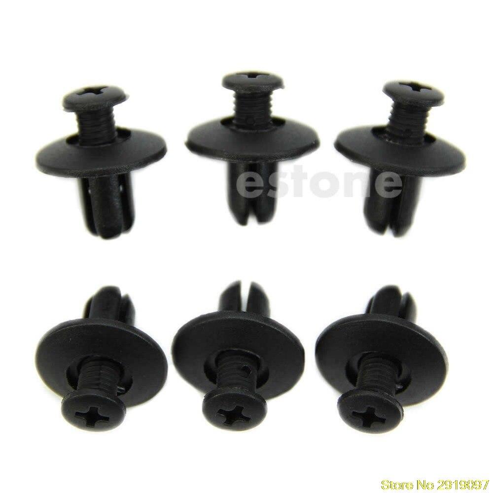 20 Pcs Black 8mm Hole Plastic Rivets Fastener Fender Push Pin Clips for Auto Car