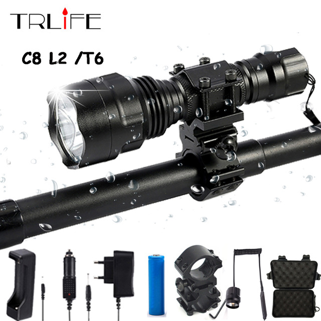 Linterna LED Flashlight L2 T6 8000LM Tactical Flashlight Aluminum Hunting Flash Light Torch Lamp +18650+Charger+Gun Mount 8000lumen l l2 led flashlight tactical flashlight torch lanterna aluminum hunting light torch lamp 18650 charger gun mount