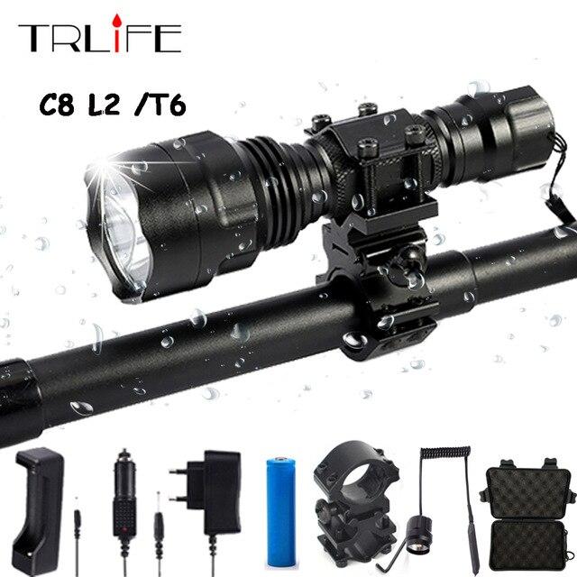 Linterna LED Linterna L2 T6 8000LM táctico Linterna de aluminio de caza luz de Flash lámpara de antorcha + 18650 + cargador + pistola montaje
