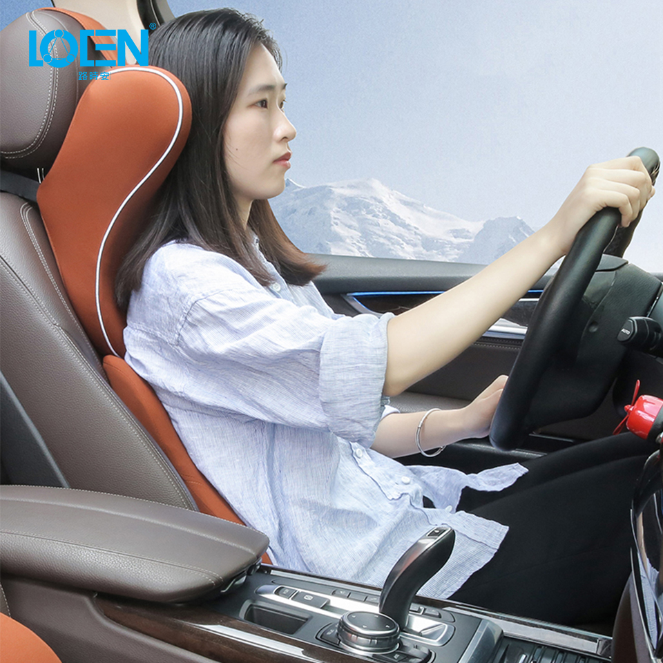 1Set Memory Foam Car Pillow Seat Headrest Neck Pillows Waist Lumbar Support Travel Neck Wasit Back Cushion Car Styling Black Red loen 1set of leather memory foam car seat support cover lumbar back cushion office chair lumbar support headrest neck pillow