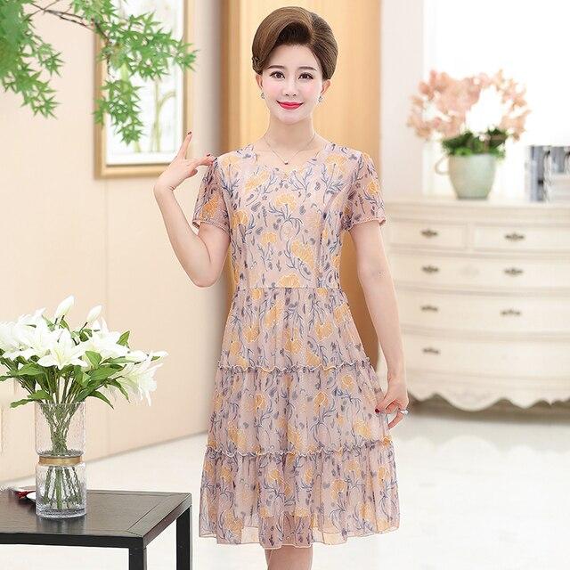 785df82fb4586 NIFULLAN Women Casual Floral Chiffon Dresses Summer Short Sleeve High Waist  Zipper Long Dress 5XL Plus Size Mother Vestidos