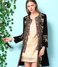 2015 Autumn Winter Clothing Women Female Vintage Embroidery Long Sleeve Jacket Elegant Woolen Blend Coat outwear Plus Size D565
