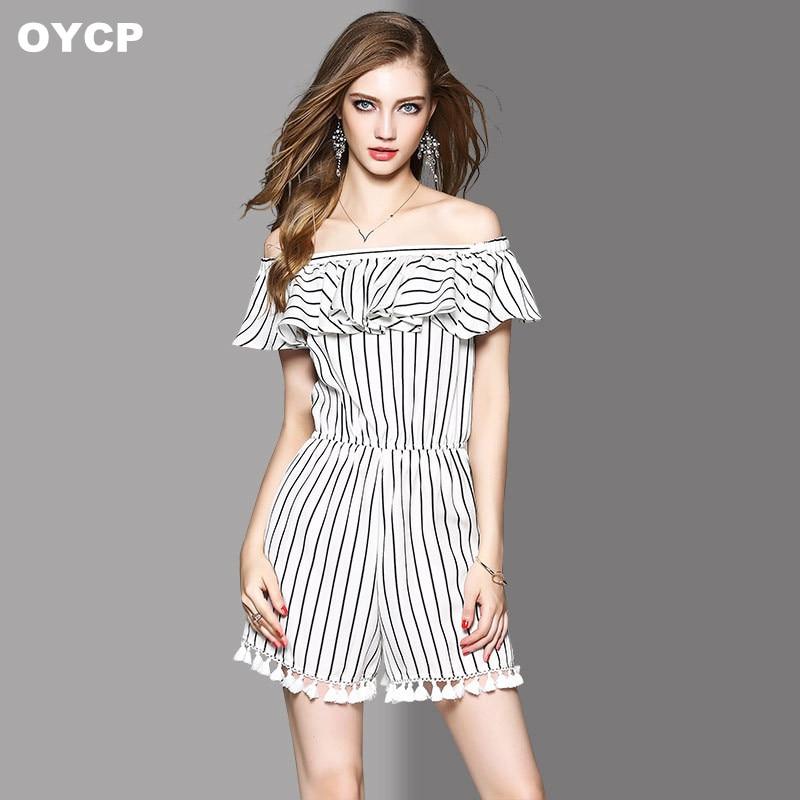 OYCP women summer ruffled collar slash neck striped tassel jumpsuit shorts and romper 2020
