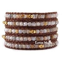 Lotus mann295 5 or auto - ombre crâne brun 5 wraps bracelet