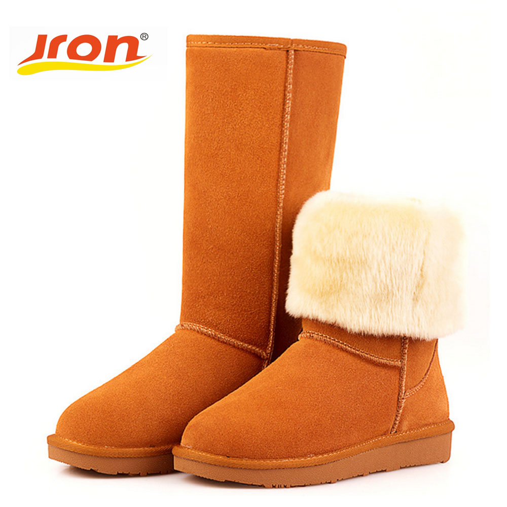 Jron Genuine Leather Knee-High Solid Style Woman Plush Snow Boots Rubber Sole Anti-slip Function Warm Boots For Winter jron mid calf genuine sheepskin leather woman shearling snow boots rubber sole anti slip function warm boots for winter autumn