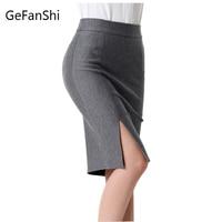 Fashion Spring Summer 2016 New Women Skirt Plus Size High Waist Work Slim Pencil Skirt Open