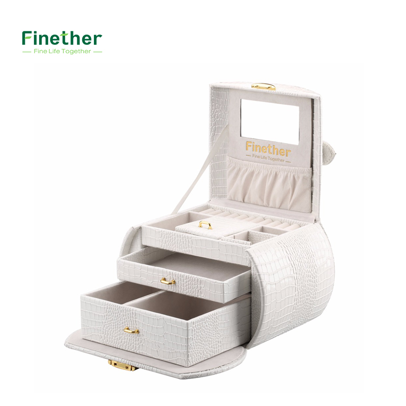 Finether Embossed Crocodile Grain Faux Leather Pattern Jewelry Box Packaging For Necklaces and Rings with Mirror and Drawers  makeup organizer box