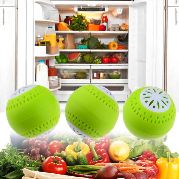 New Hot 3Pcs Fridge Moisture Absorbers Eliminator Odor Removal Balls Home Kitchen Tool Drop Ship - Green