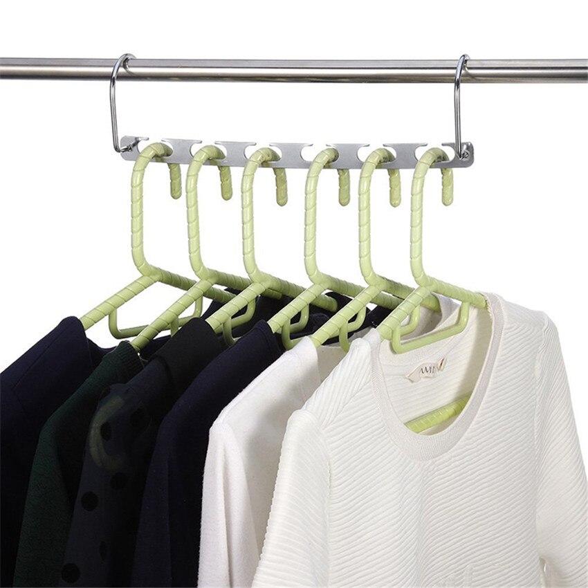 Useful 6-Hole Space Saving Clothes Hanger Magic Closet Wardrobe Space Saving Organizer Rack Hanger TV Metal Wonder Hanger