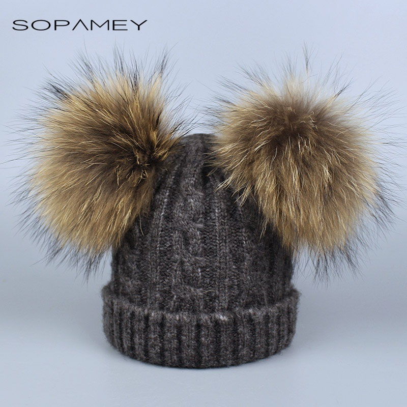 Adult Real Fur Raccoon Pompom Hat Skullies Women Girls Winter Beanie Hats Wool Knitted Caps for Women 2017 Hot Sale autumn winter beanie fur hat knitted wool cap with raccoon fur pompom skullies caps ladies knit winter hats for women beanies page 5
