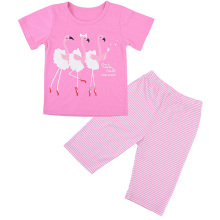2019 Summer Kids Pajamas Girls Cute Cartoon Flamingo Sleepwear Suit Pink Fashion Short Home Clothing
