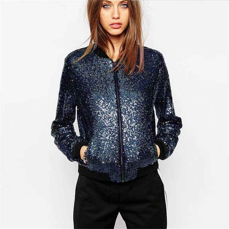 European&American Fashion Women Basic Coats Simple Sequined Leather Female Jacket Autumn Cool Slim Sequins Jacket A2277
