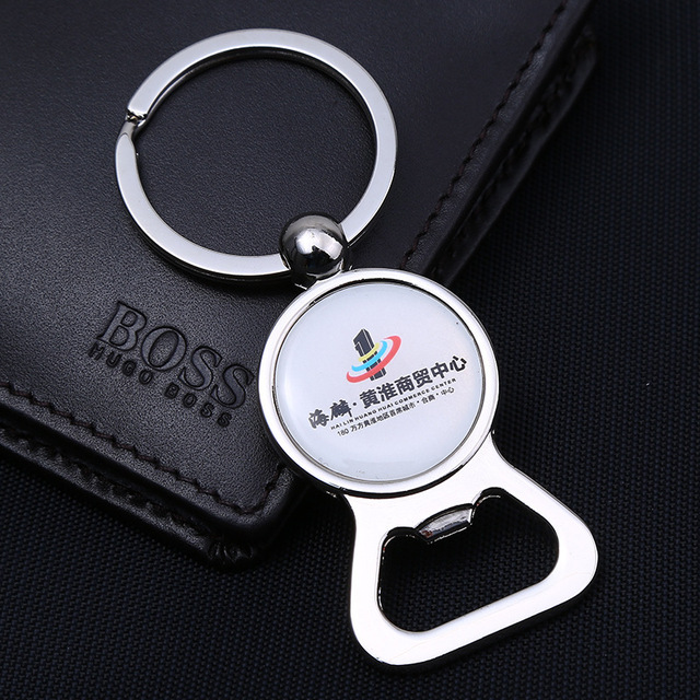 Business giveaway corporate gift custom logo promotional products beer bottle opener keychain with epoxy logo sticker