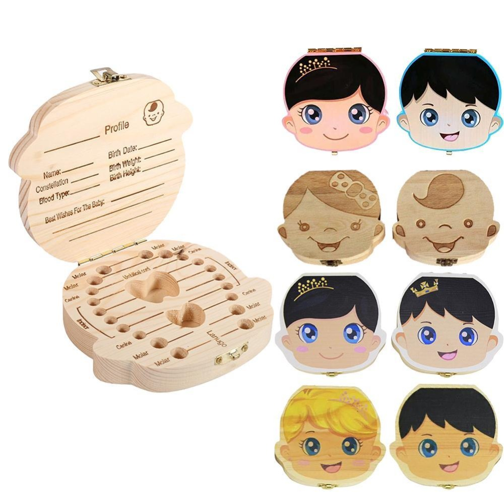 Lovely Wooden Kids Tooth Box Wooden Boy Girl Save Milk Teeth Collection Organizer In Spanish English French Russian