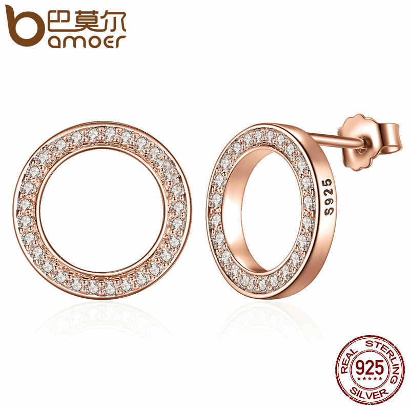 BAMOER Forever Clear CZ 925 Sterling Silver Circle Round Stud Earrings with CZ Jewelry GIFT Oorbellen Bijoux PAS437