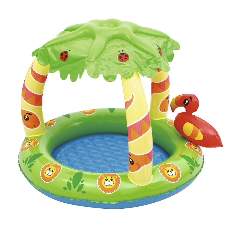 Inflatable Baby Jungle Play Pool Float Seat With Palm Tree Sunshade Swim Toys For Pool Kids Fun Water Raft Boia Piscina