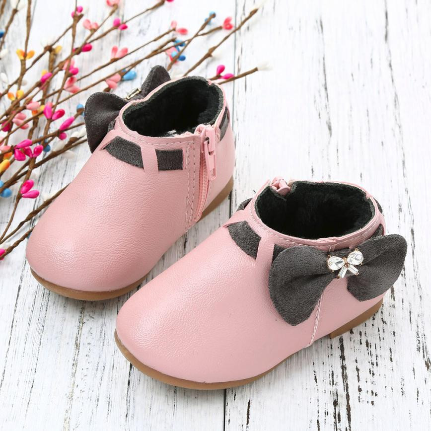 newborn shoes Toddler Baby Girls Children Fashion Bowknot Sneaker Boots Zipper Casual Shoes baby girl boys shoes 2018 Hot Sale