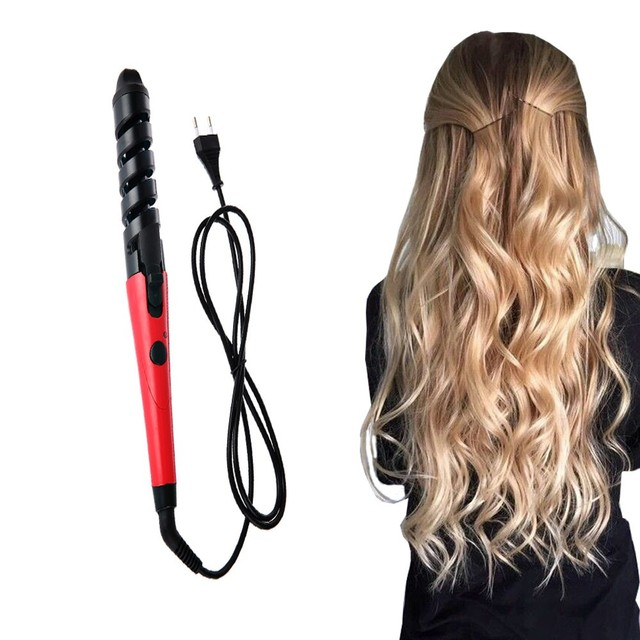 Black Red Electric Magic Hair Styling Tool Rizador De Pelo Hair Curler Roller Pro Spiral Curling Iron Wand Curl Styler #088