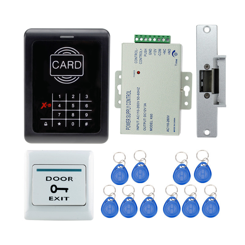 Full complete RFID door access control system kit digital keypad with electric strike lock+ power supply+10pcs ID key chains diy rfid id card keypad door access control system kit strike door lock power supply b100