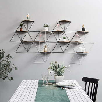 Nordic minimalist wall room decoration home creative geometric iron multi-layer small partition  c