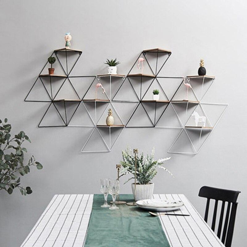 Nordic Minimalistische Muur Kamer Decoratie Thuis Creatieve Geometrische Ijzer Multi-layer Kleine Partitie C Met De Beste Service