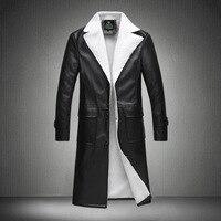 2018 Лидер продаж для мужчин s пальто зима кожаная Ветровка Длинные волосы Zhongchang ягненка с лацканами прямые поставки фабрики
