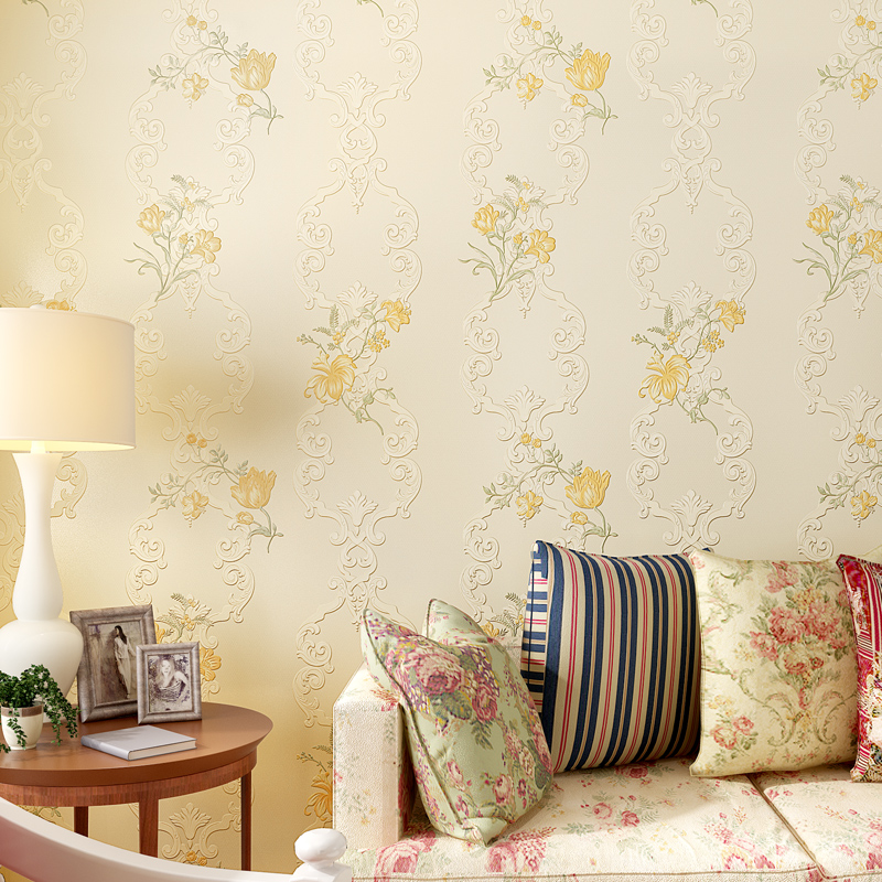 New non-woven coining wall roll paper European romantic rural flower 3d wallpaper bedroom sitting room TV setting wall цена 2016