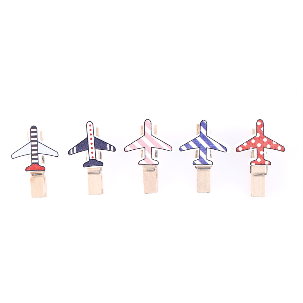 10Pcs/pack Wooden Clip Photo Paper Cartoon Plane CraftDIY Clips Clothespin Party DecorationCraft Clips Home Decoration 3.5*0.7cm