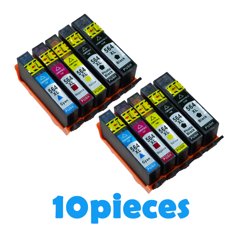 10pcs XiongCai compatible Ink Cartridges For HP <font><b>564</b></font> 5510 5511 5515 5520 5525 6510 6515 6520 7510 7515 printer For HP564 <font><b>XL</b></font> 546XL image
