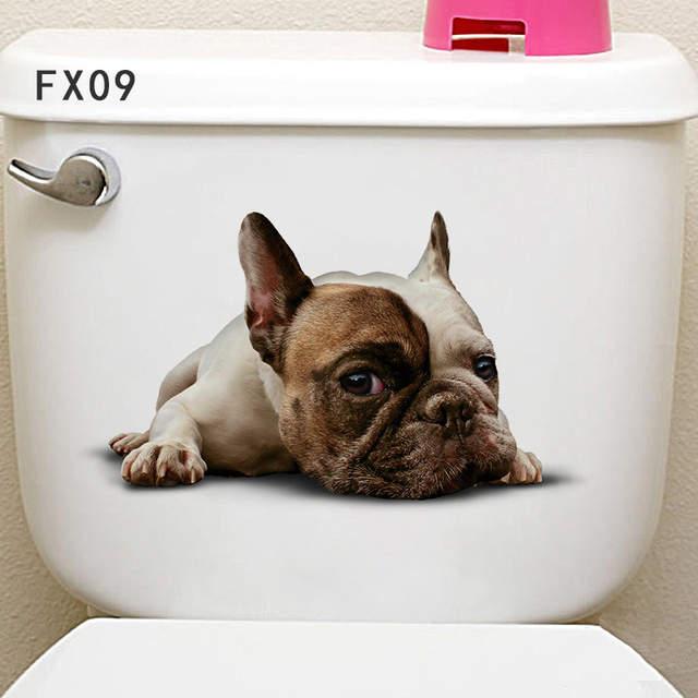Cut Cat Dog Toliet Wall Stickers Eco