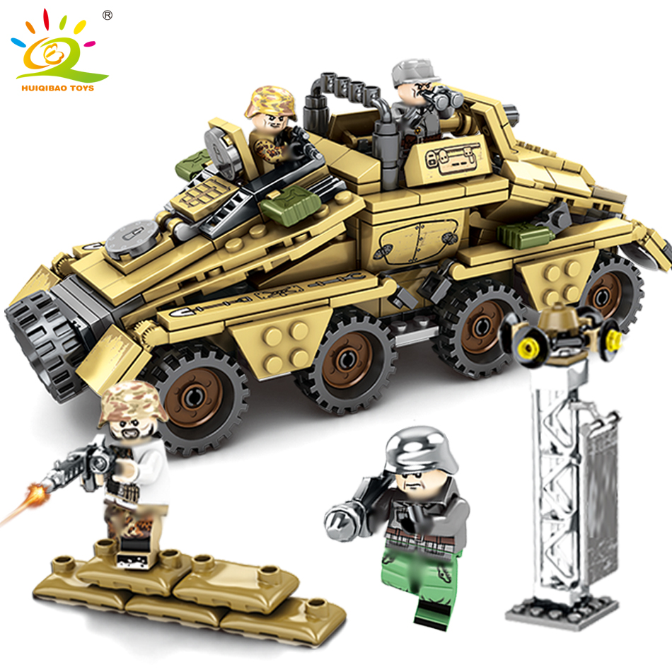 395PCS Military WW2 Army Germany Armored Vehicle Soldiers Building Blocks Figures Weapon truck Bricks Toys for Children Boys