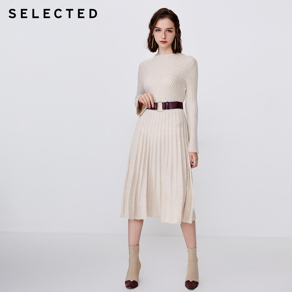 SELECTED Woman Wool Jacquard Knitted Mid length Dress  S  418446505-in Dresses from Women's Clothing    2