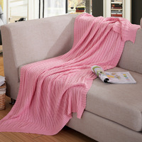 High Quality Vintage Solid Color 100 Cotton Blankets For Adults Beds Sofa Plaid Handmade Knitted Blanket