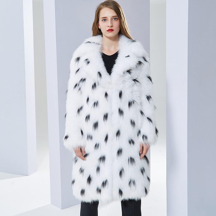 Mode A Bas Doux Chaud Femmes Vers Manteau Manteaux Tournent Long Réel Veste Naturel Renard Fourrure Le Tricoté De Qdsthr