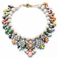 2014 Luxury Multi Color Rhinestone Choker Knitted Party Necklace Wedding Fashion Jewelry For Women