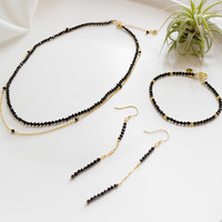 BFQ 2019 new 925 sterling silver necklace bracelet earrings one set jewelry high quality black stone jewelry sets pendientes