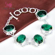 Фотография Top Best Price Seller Dazzling Shine Oval Green Synthetic Quartz Gems Silver Plated Chain Bracelets For Women 100% Hand Made