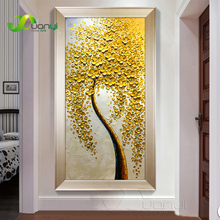 Handpainted Abstract Palette Knife Flower Oil Painting On Canvas Handmade Money Tree Wall Cuadros Decoraction Unframed