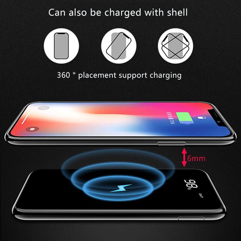 Chargeur Sans Fil Qi pour iPhone batterie externe 8/X XS Samsung S8 s9 chargeur rapide Portatif 10000 mAh Externe chargeur de batterie Portable téléphone