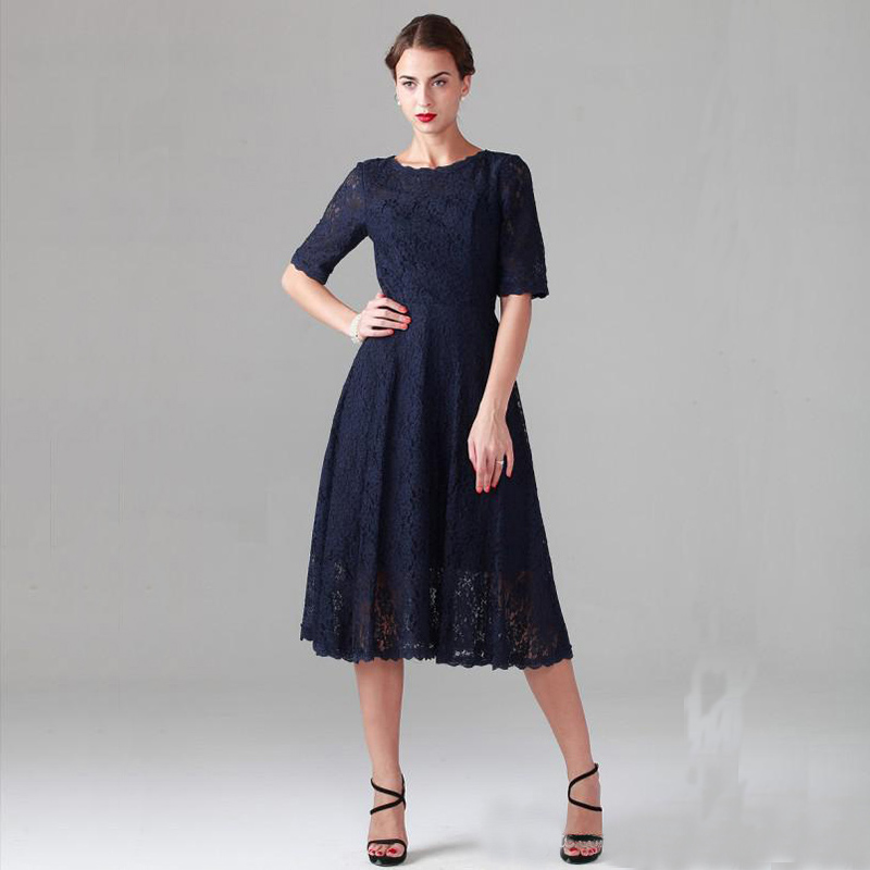 Popular Navy Blue Tea Length Dress-Buy Cheap Navy Blue Tea Length ...