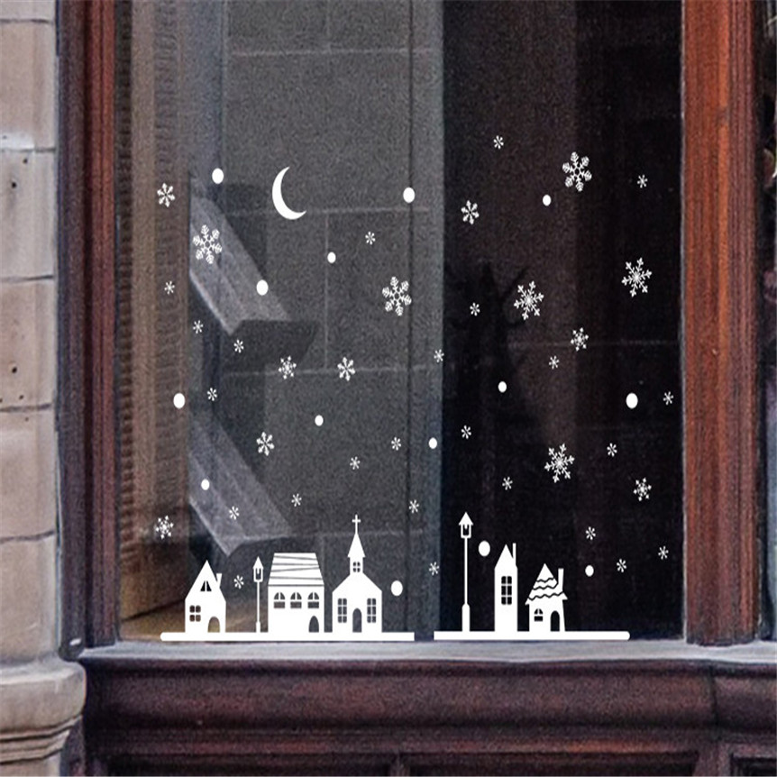 New Christmas Shop Window Decoration Wall Stickers Christmas Snowflakes Town Home Room Decoration DIY Drop shipping 71106