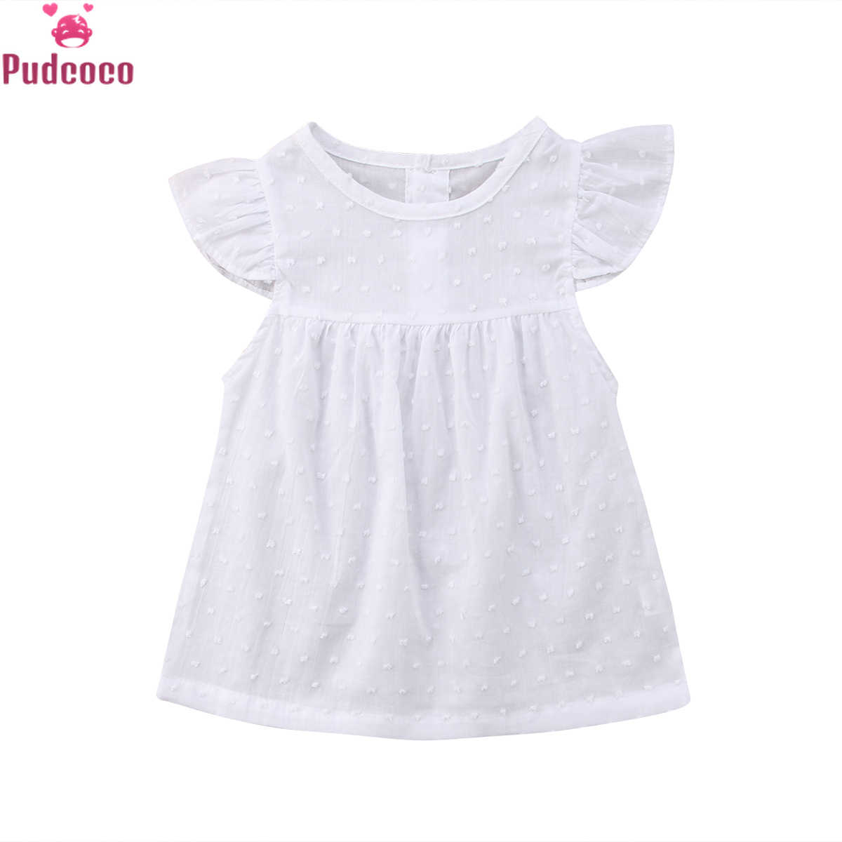 Cute White Tulle Princess Dress Baby Girl Clothes Toddler Infant Short Sleeves Tutu Dresses Party Birthday Holiday Dress
