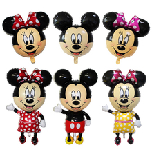 112CM Giant Mickey Mouse Minnie Balloons 10 Pcs Balloon Stick for Birthday Party Decorations Kids Supplies