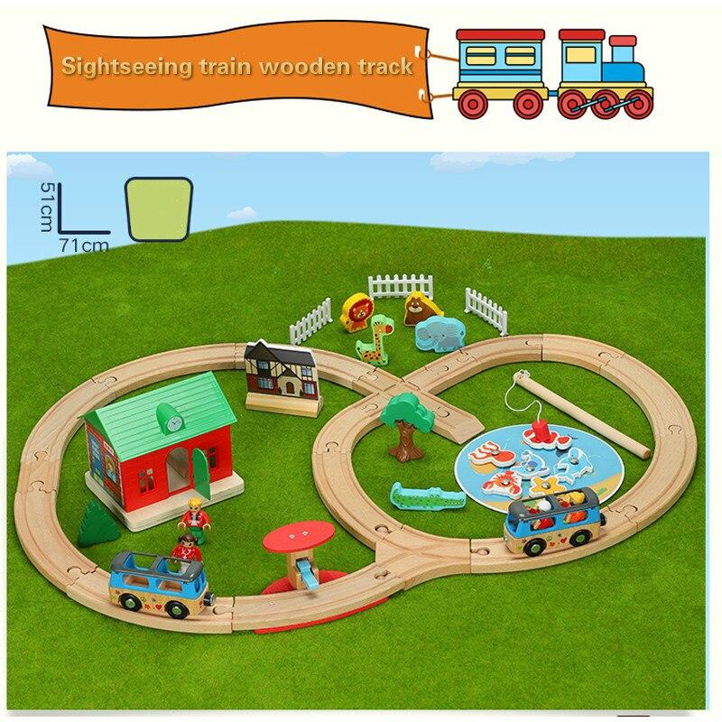 Train en bois voie ferrée pêche ferme voie ferroviaire Compatible avec les Trains en bois avec toutes les marques Trains enfants jouets livraison directe