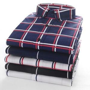 Image 4 - Männer Große Plaid und Überprüfen Pflegeleicht Baumwolle Hemd Lange Sleeve Standard fit Taste Unten Kragen Casual gingham Shirts