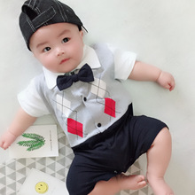 Baby Overalls 2018 Moustache Gentleman Boy Short Sleeves Bowknot Tie Romper Summer Clothing Bodie For Babies Tiny Cottons
