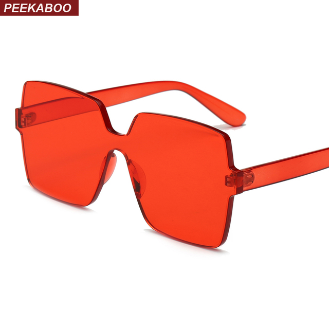 e3087597aa Peekaboo rojo sobredimensionado cuadrado gafas de sol de las mujeres  transparente de color caramelo 2019 una