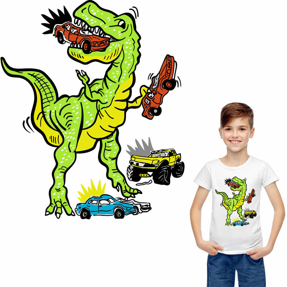 Dinosaurus patches voor kleding ijzer op transfer auto fiets stickers transfert thermocollants t-shirt cool diy patch parches ropa