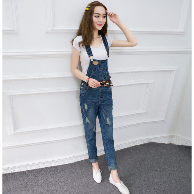 e143d5813b6 New Women s Casual Regular Denim Overall Strap Pants Sling Jeans Jumpsuits  Trousers Washed Casual Hole Jumpsuits Romper Jeans