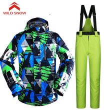 Wild Snow Men Ski suit Winter Outdoor Ski Jacket Men's Snowboard Skiing Waterproof breathable Thermal Warm Jackets pants